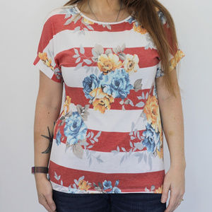 Floral with Coral Stripes Top